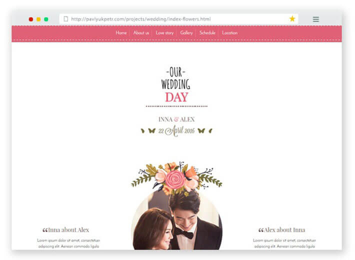 The Wedding Wedding Website Template