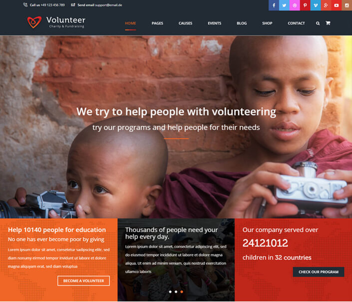 Volunteer Responsive Church WordPress
