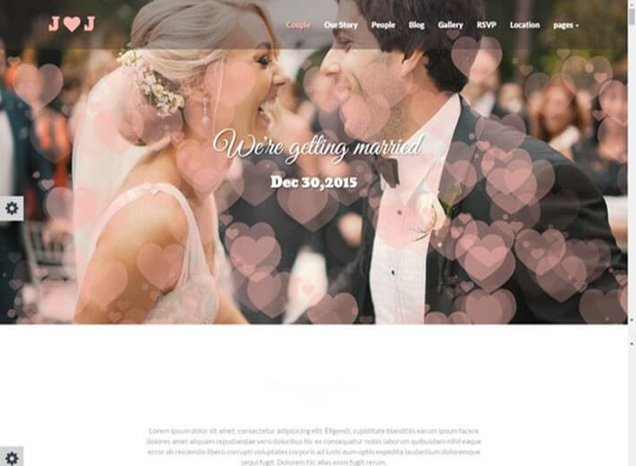 flying hearts Wedding Website