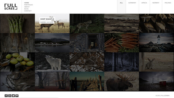 fullscreen portfolio HTML5 Photography