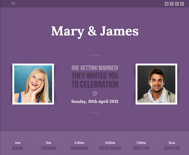 lavender Wedding Website Template