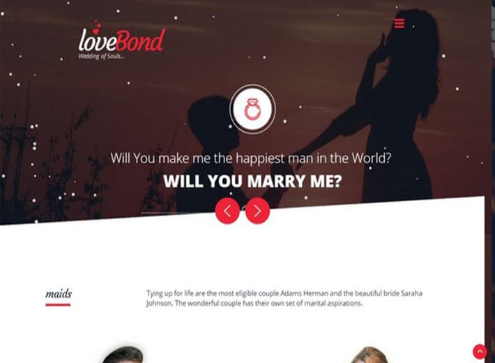 lovebond Wedding Website Template