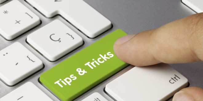 Tips and Tricks keyboard key. Finger
