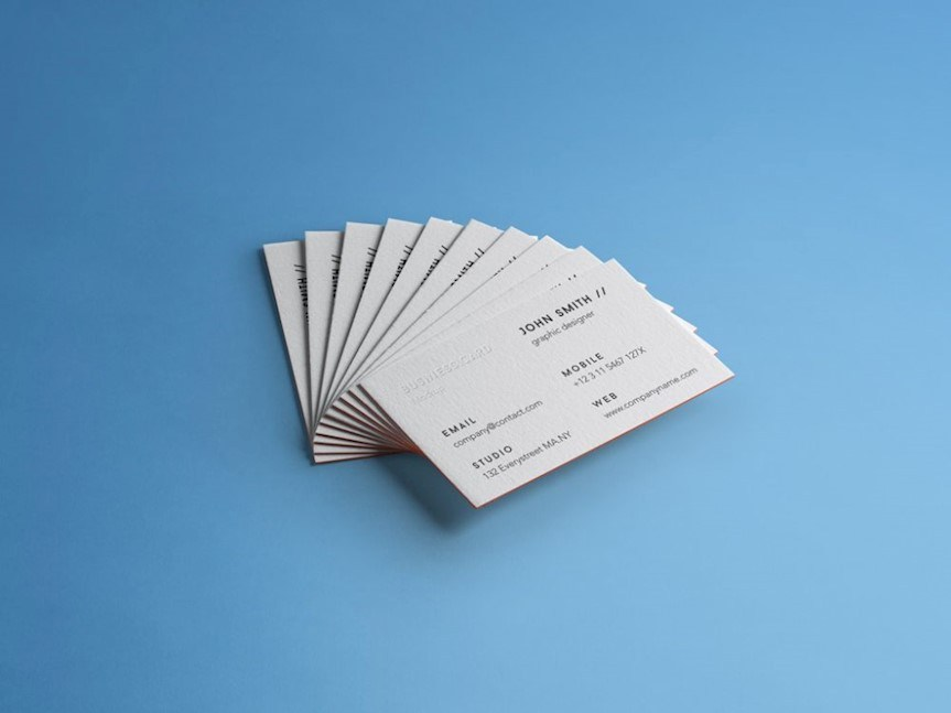 free stack business cards mockup psd 750