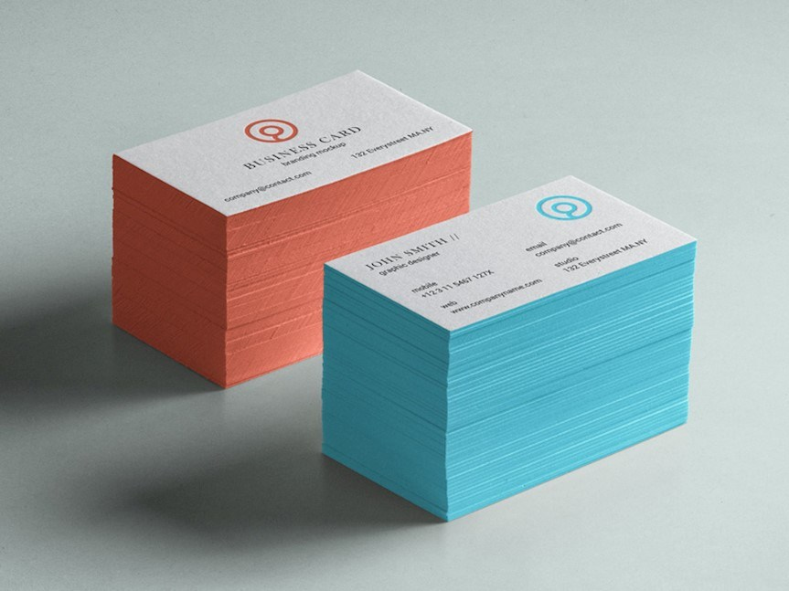 orange blue business card