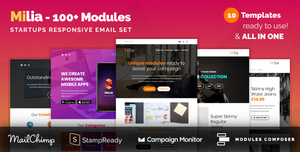 Milia - Responsive Email with 100+ Modules + MailChimp Editor + StampReady + Online Builder