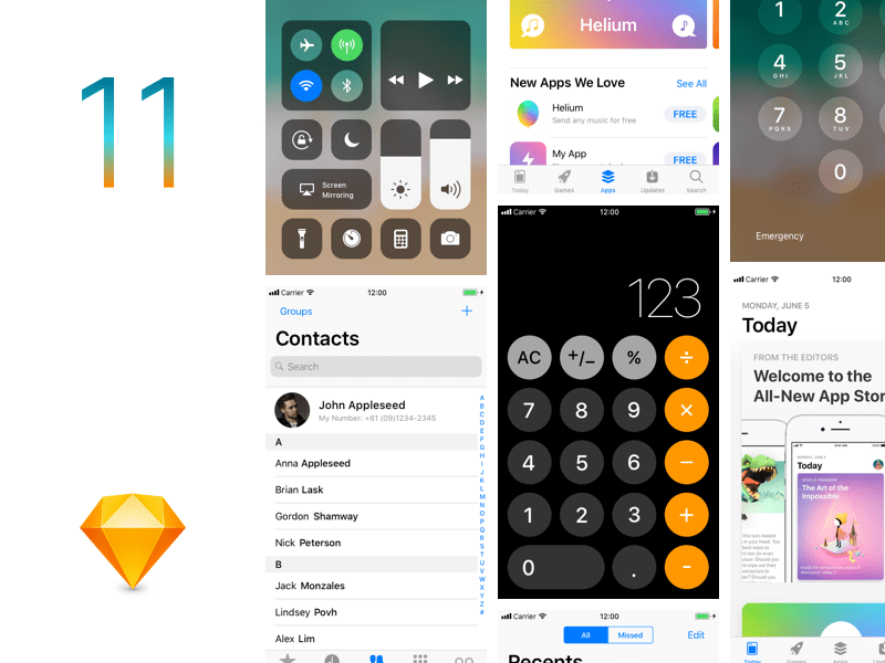 iOS11-GUI-Template-Sketch-app
