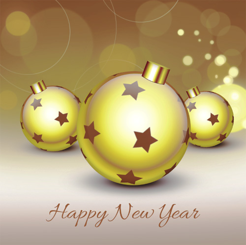 How To Create Happy New Year Greeting Card With Xmas Balls