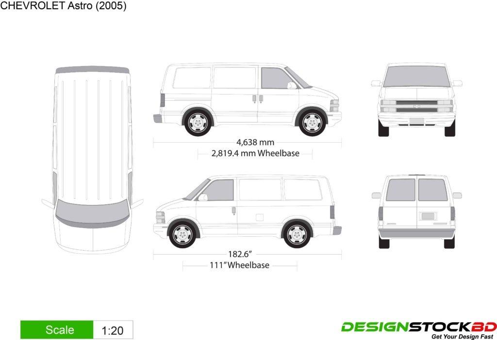 Chevrolet Astro van outline/blueprint free download