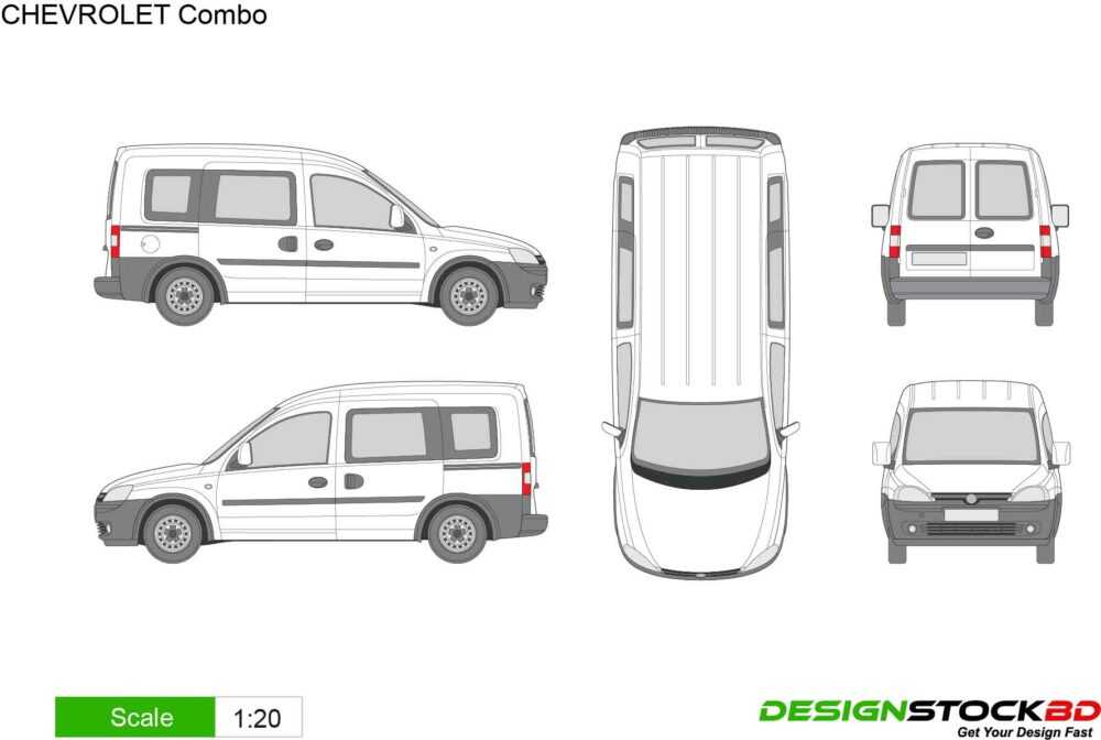 CHEVROLET Combo van template/outline/blueprint