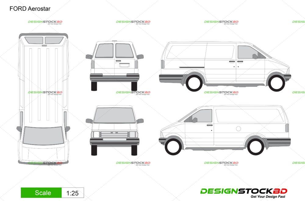 FORD Aerostar Vehicle Template /Blueprint/outline Download