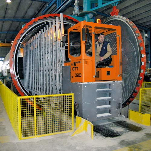 Hubtex transporter in an autoclave operation
