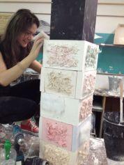Emily's pink furry tile plinth