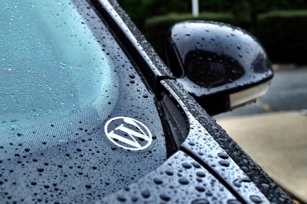 WordPress sticker on my car during a rain storm