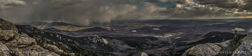 Sweeping snow on Mount Chocorua late in the afternoon in New Hampshire