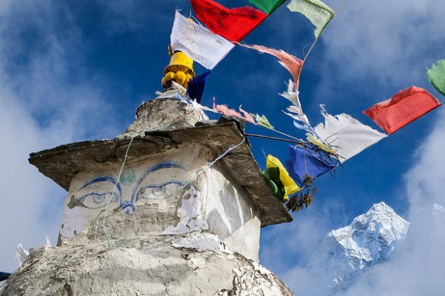 Stupa and Ama Dablam near Dingboche