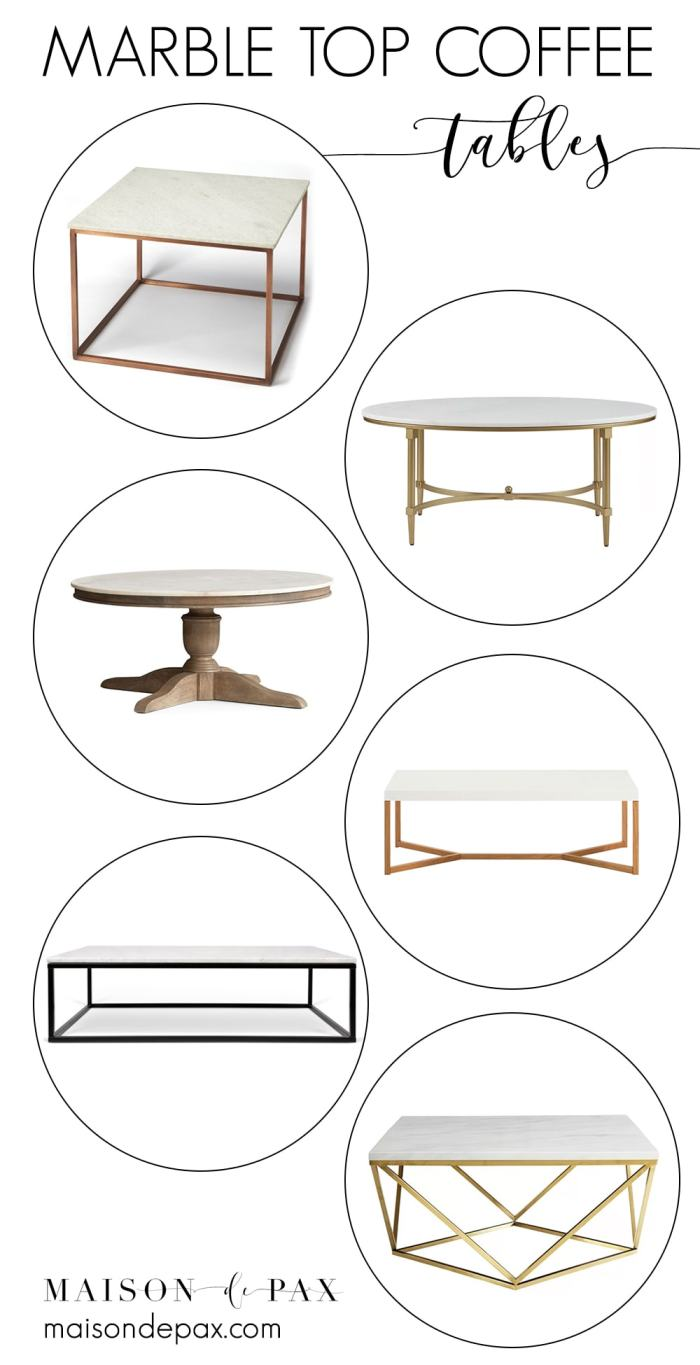Marble top coffee tables-collage