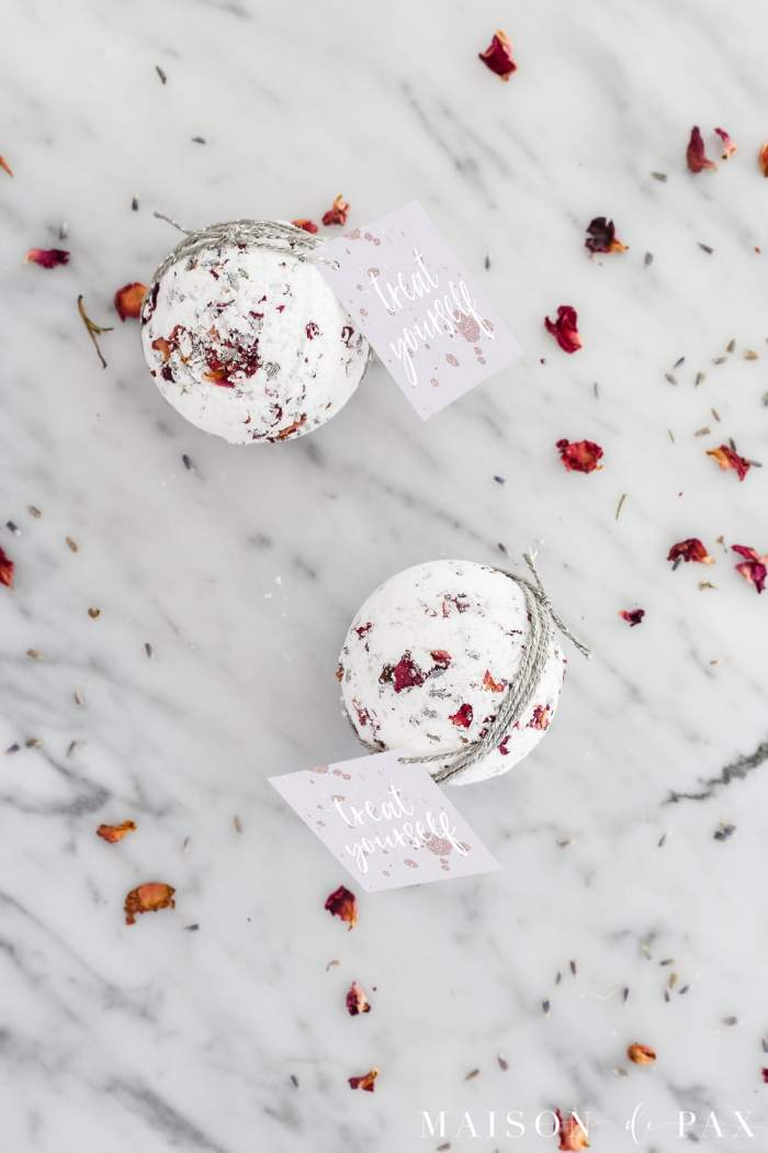 lavender rose bath bombs with free printable