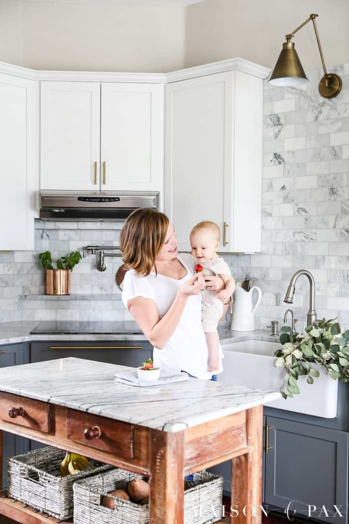 marble kitchen spring lifestyle scenes