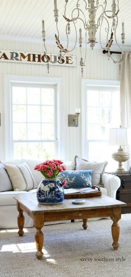 French farmhouse style sunroom