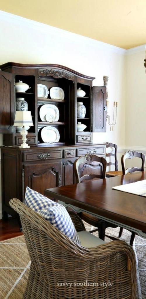 vintage French hutch in dining room