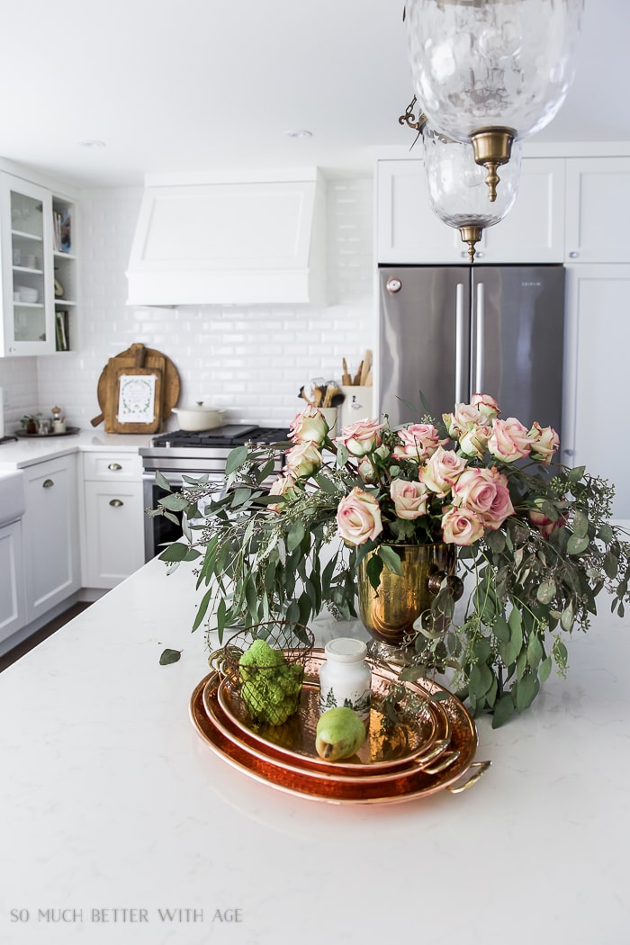 fall-white-kitchen-natural-wood-french-copper-eucalyptus-roses