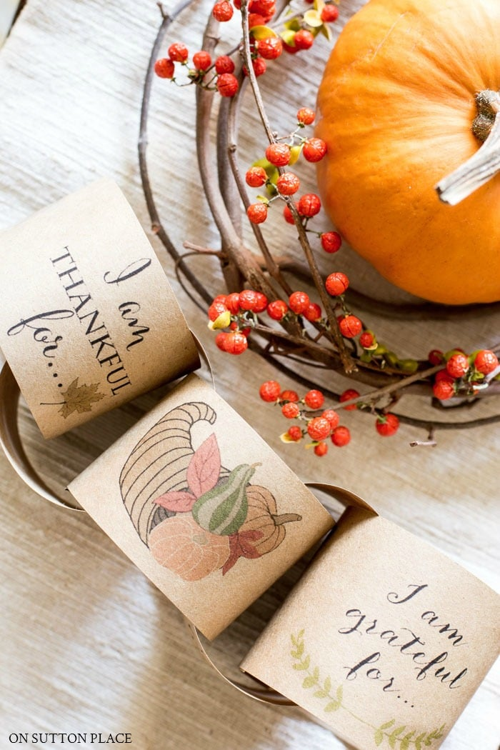 Countdown to Thanksgiving Paper Chain Printable from On Sutton Place