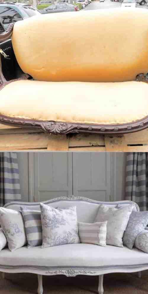 No-Sew-Reupholster-A-Sofa