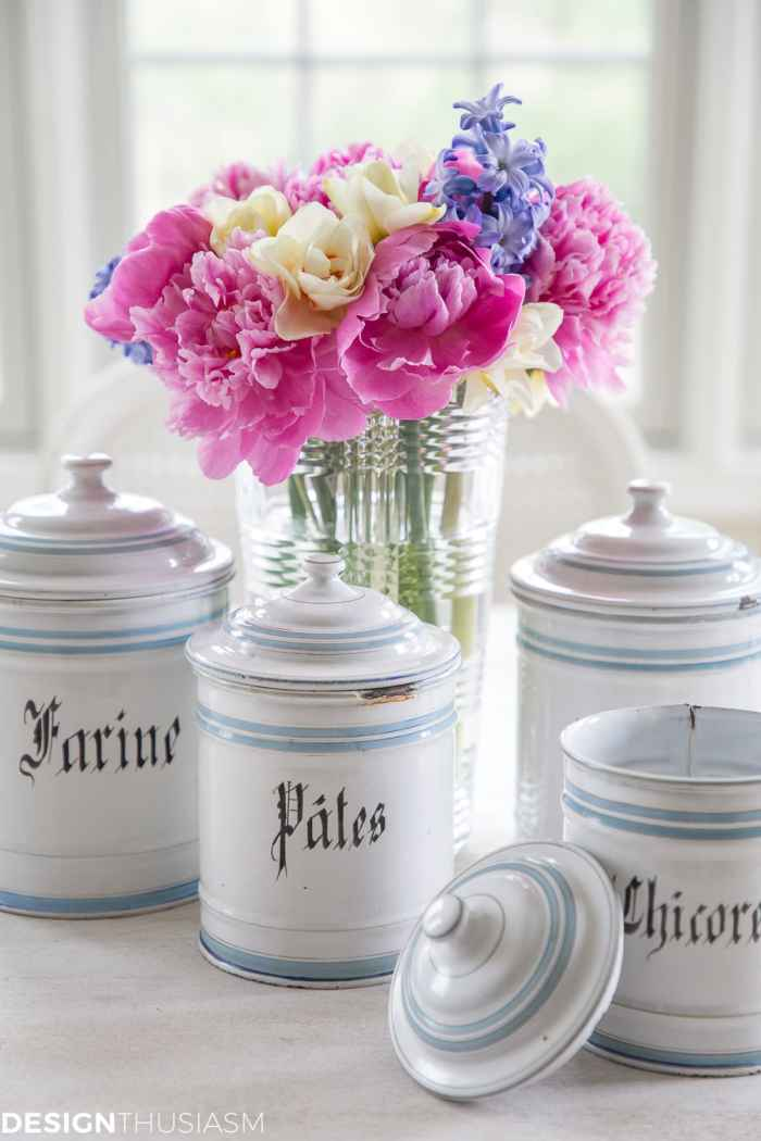 vintage canisters for kitchen organization
