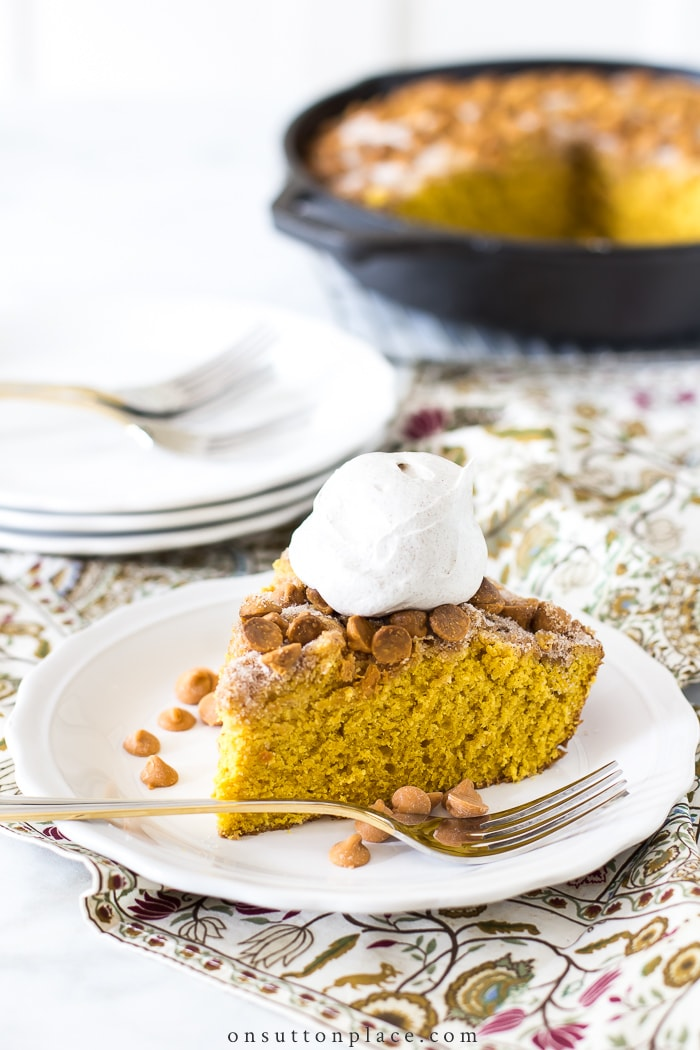 Pumpkin Snickerdoodle Skillet Cake from On Sutton Place