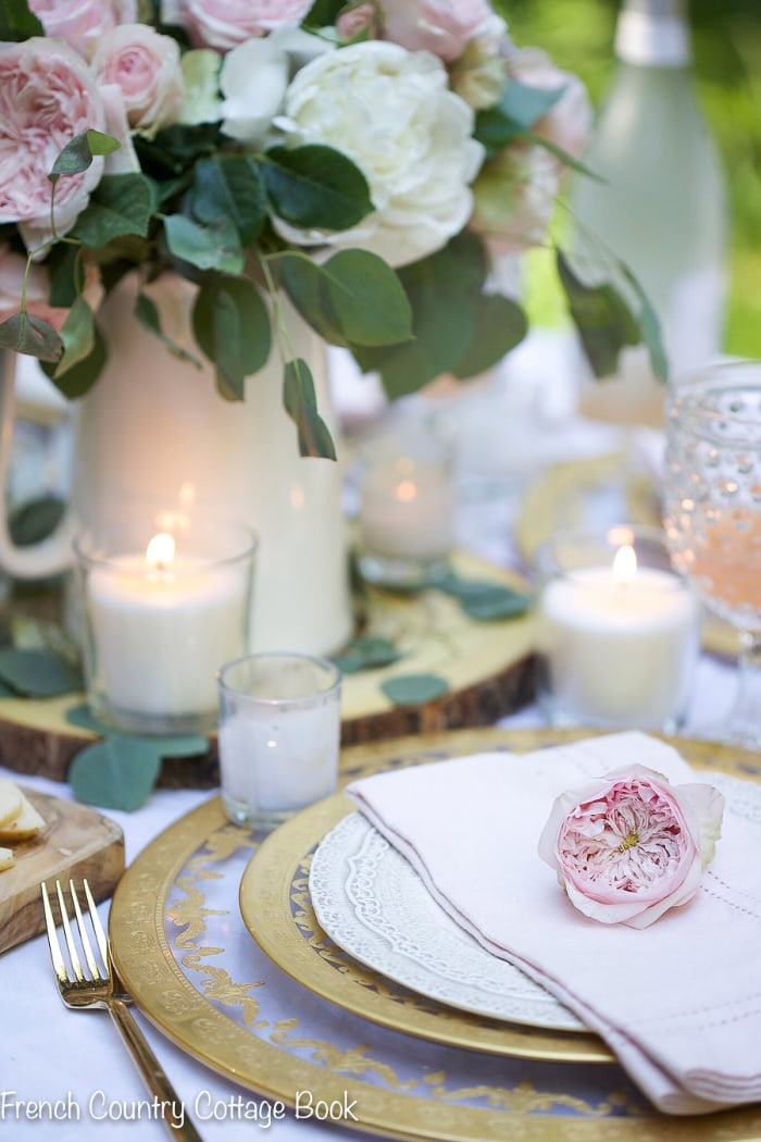 Spring table setting in countryside