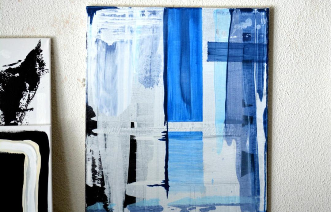 ArtbyDinaD - Blue Abstract Acrylic Painting