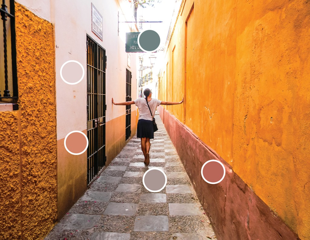 Spain Inspired Color Palette - Design to Five - Seville Spain Color Palette - Color Indicator