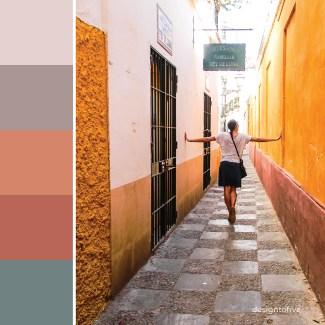 Spain Inspired Color Palette - Wandering Down Narrow Streets in Seville- Spain - Sevilla