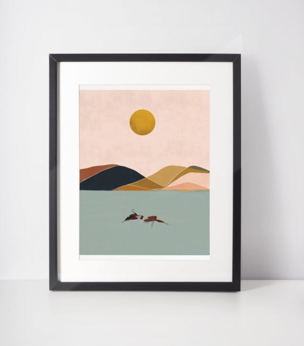 Printer Art - Minimal - Alone Time - Water with Mountains