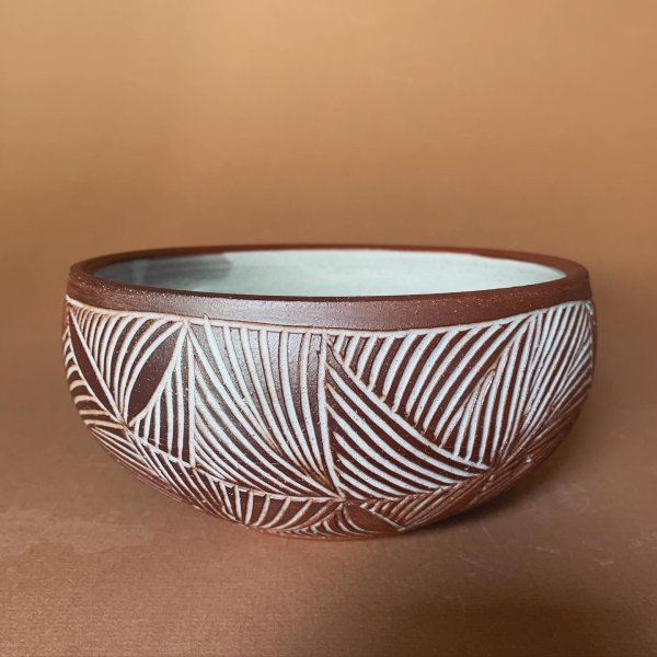 Carved Bowl - Pottery - Pottery by Osa