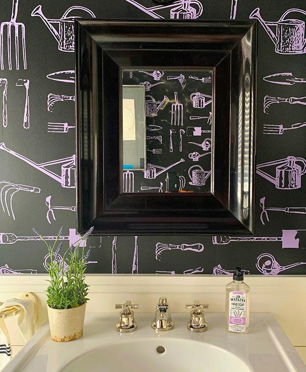 Sheila Bridges Design - Dark Green Wallpaper- Garden Tools Wallpaper