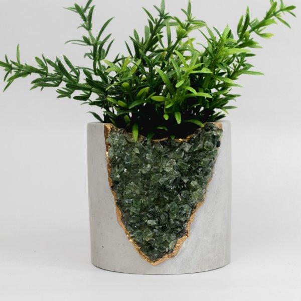 Tal and Bert - Mod Planter - Concrete, Gold, and Gems - Apatite - Green Gem Planter