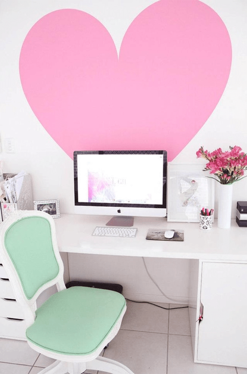 oh-how-pinteresting-wednesday-mint-green-computer-chair-in-office-big-pink-heart-decal-on-wall