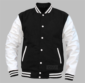 varsity jacket black wool white leather