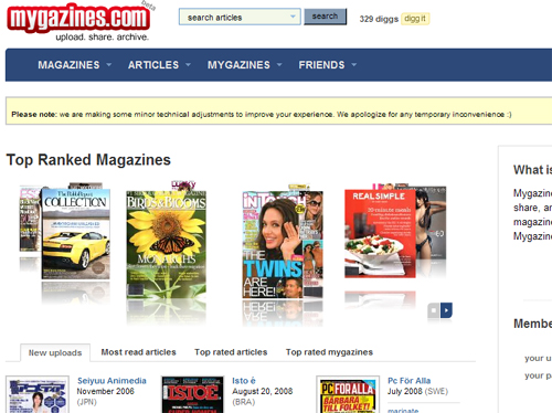 mygazines.com community sharing reading magazines