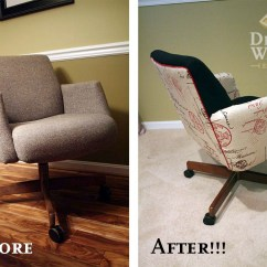 Reupholster Office Chair Back Ikea Poang Replacement Parts Makeover Design Waffle