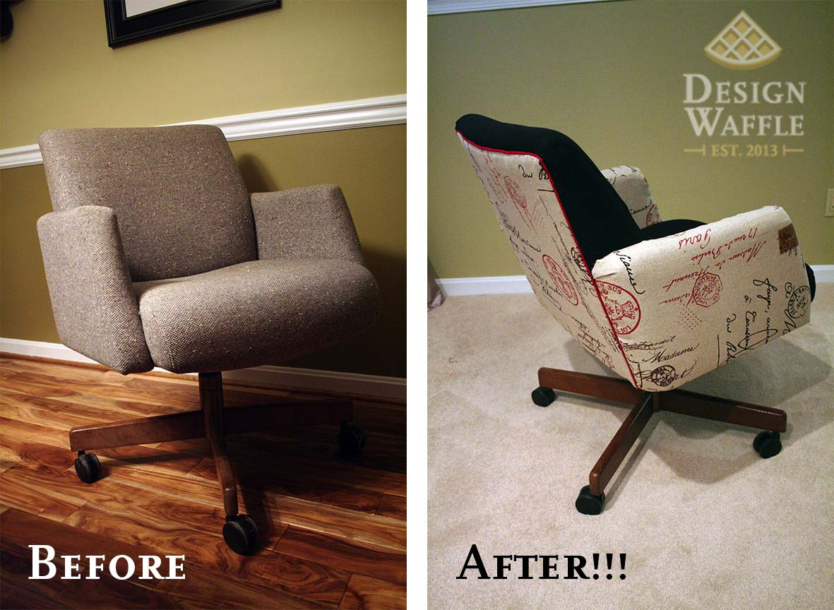 Reupholster Office Chair Office Chair Makeover Design Waffle