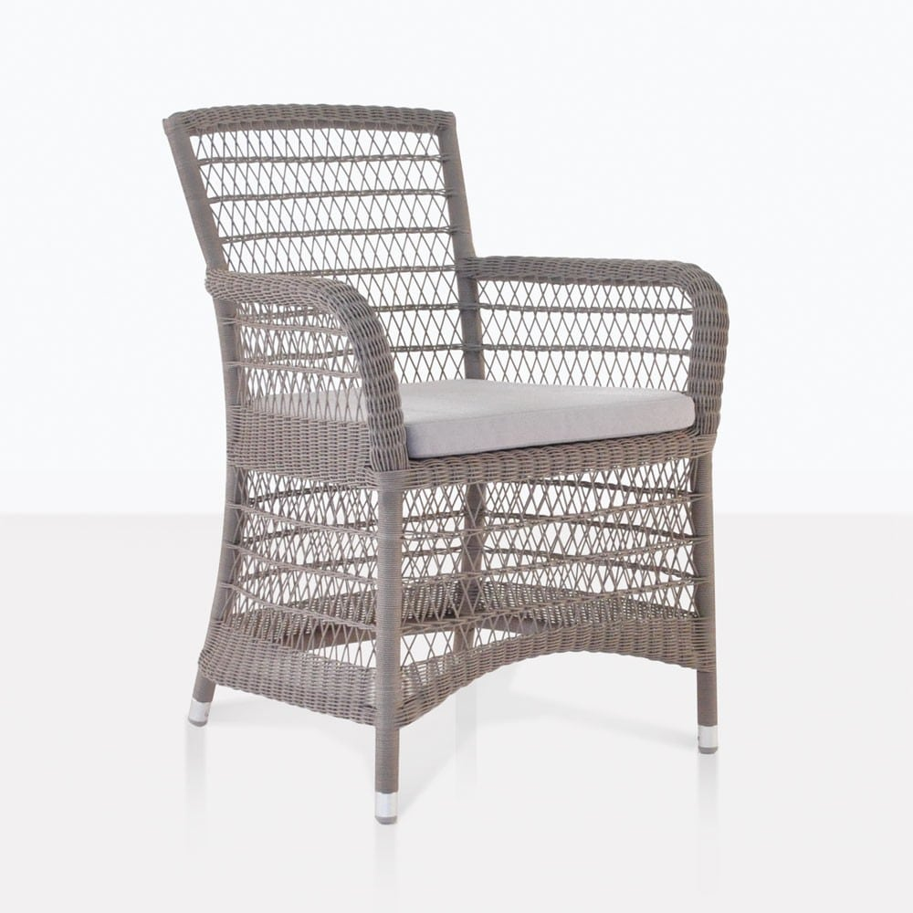 Wicker Outdoor Dining Chairs Hampton Wicker Dining Arm Chair Pebble