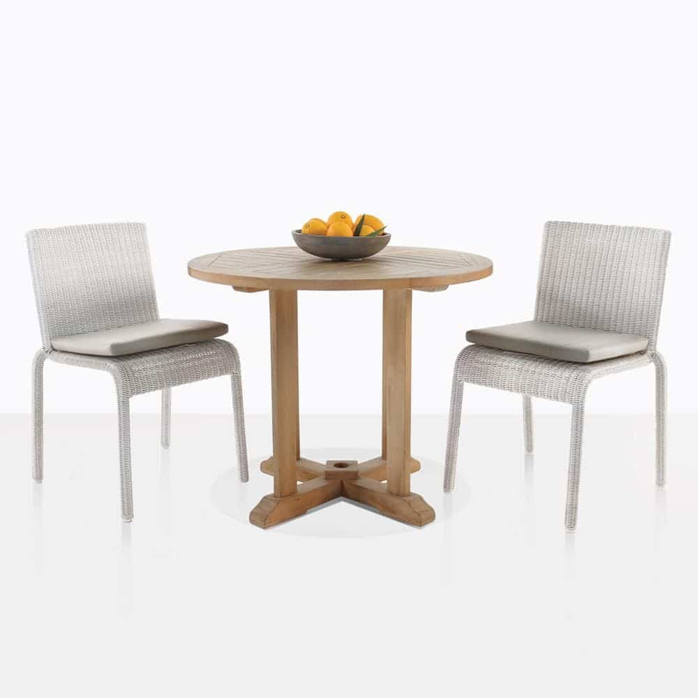 Wicker Outdoor Dining Chairs Round Teak Table With Zambezi Chairs Outdoor Dining Set