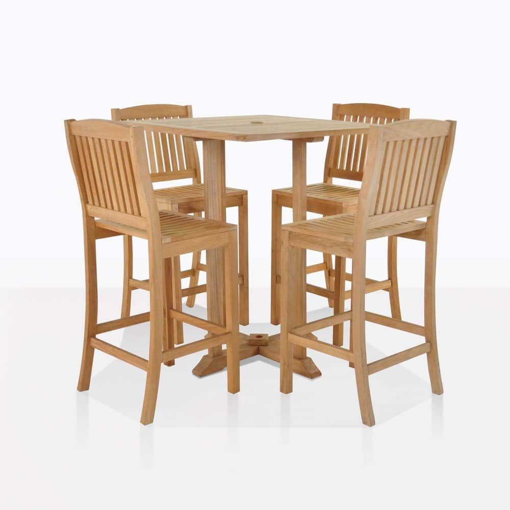 Bar Height Table And Chairs Square Bar Table With 4 Verona Chairs Teak Bar Set