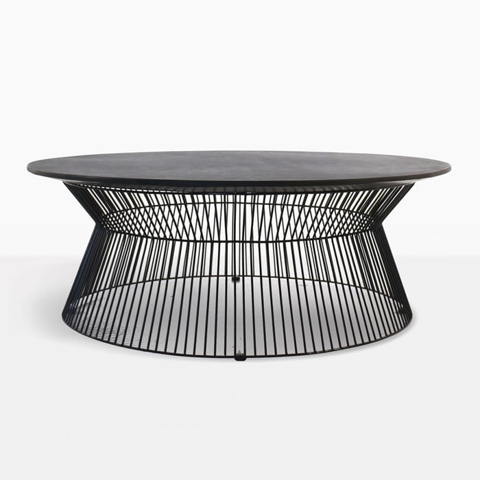 wicker chairs indoor dining chair cover hire sunderland deco round outdoor coffee table (black sand) | design warehouse nz