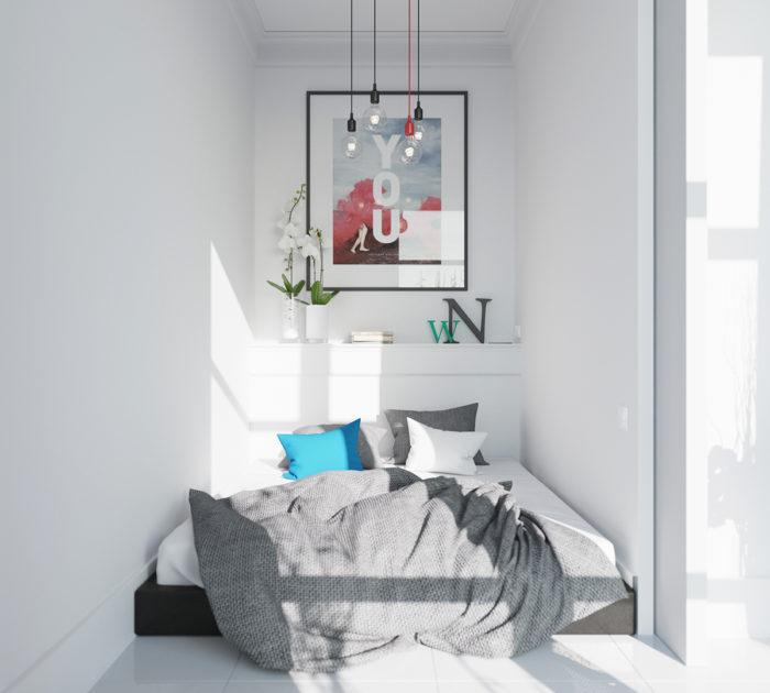 Кровать от стены до стены в маленькой спальне