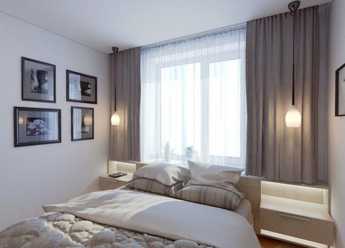 Шторы и бельё в дизайне маленькой спальни