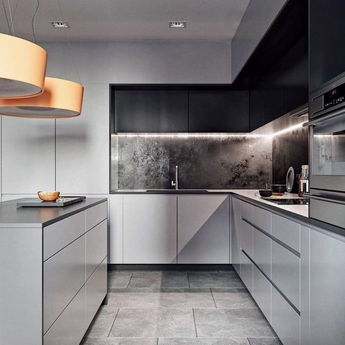 Modernt köksdesign med möbeldekoration med träskivor